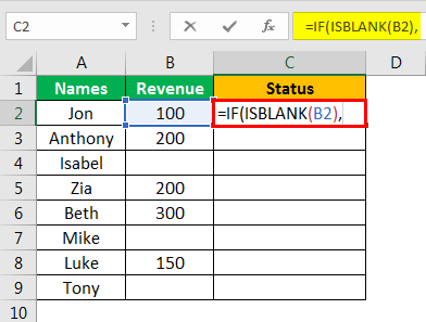 Isblank Excel - Example 2.2