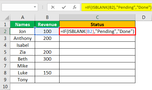 Isblank Excel - Example 2.3