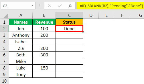 Isblank Excel - Example 2.4