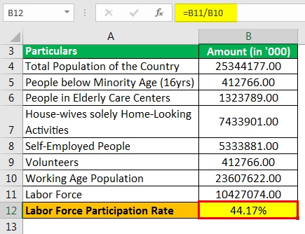 Labor Force Participation Rate Formula Example 2.4