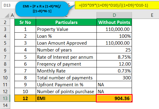 Mortgage Points calculator - Example #1 (without Points)