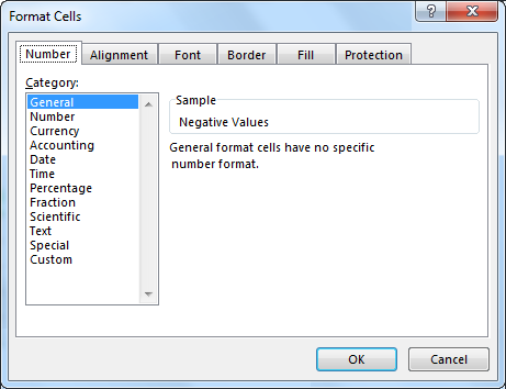 Negative Numbers - Format Cells Window