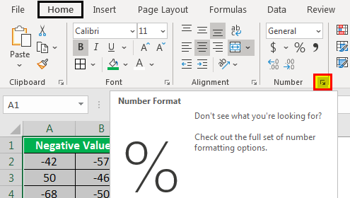 Number format option select