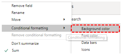 Open conditional formatting
