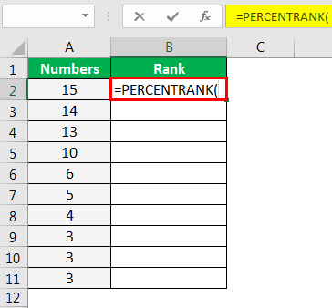 PERCENTRANK Function in Excel Example 1.1