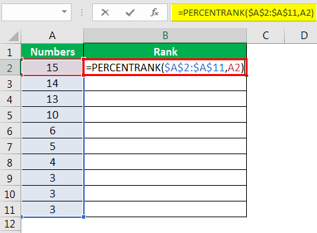 PERCENTRANK Function in Excel Example 1.3