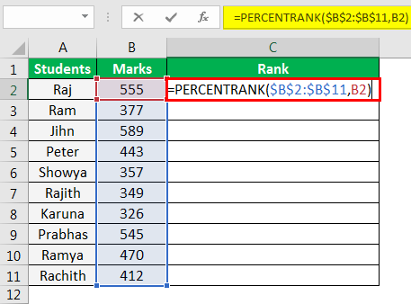 PERCENTRANK Function in Excel Example 2.3