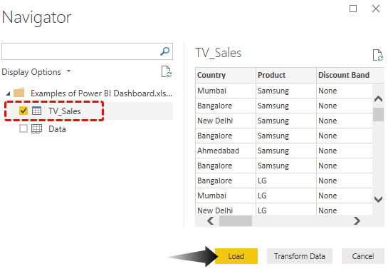 Power BI Dashboard Example (Load data)