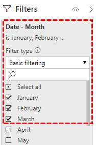 Power BI Filters - Date – Month