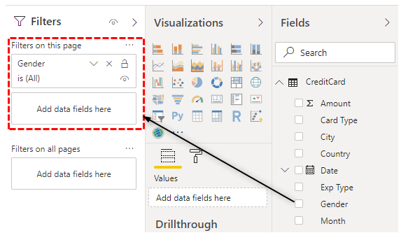 Power BI Filters - Filter on this page