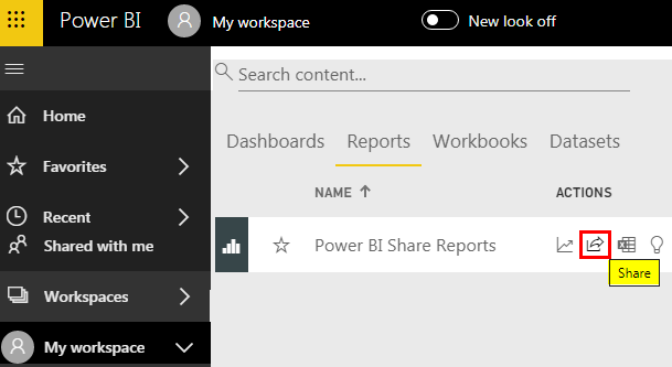 Power BI Share Icon