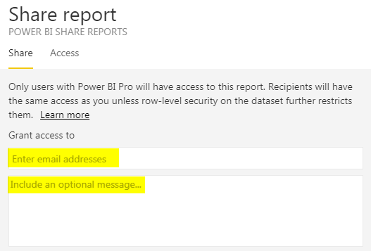 Power BI Share Reports -Enter Email Address