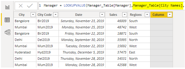 Power BI Vlookup (Manager table - City Names)