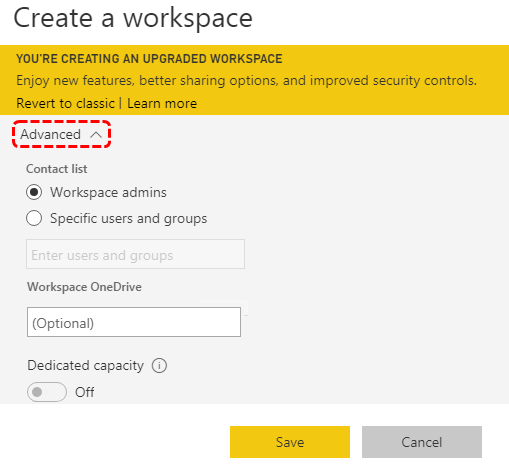 Workspace Advanced Option