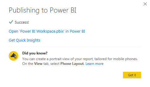 Power BI Workspace - Confirmation Msg