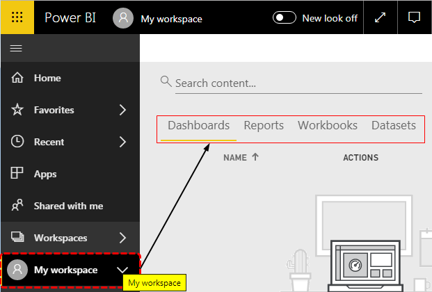 Power BI Workspace - My Workspace Option
