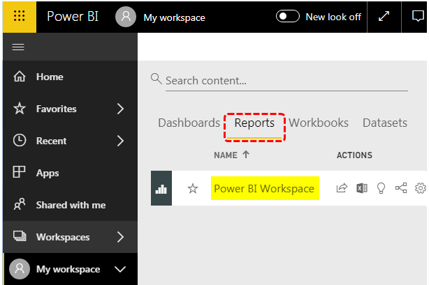 Power BI Workspace - Reports Option