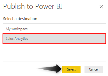 Power BI Workspace - Select Publish Destintion 1