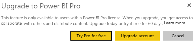 Power BI Workspace - Upgrade Option