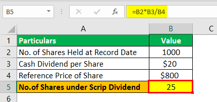 Scrip Dividend Example