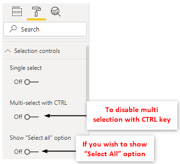 Slicers Power BI - Selection Control