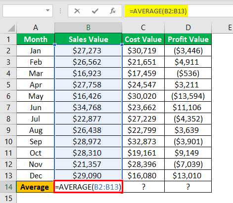 excel statistical functions Example 1.2