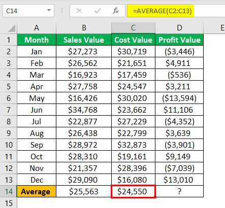 excel statistical functions Example 1.4