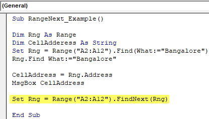 VBA Find Next - Example 1-10