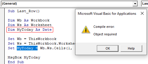 VBA Object Required Example 1-2