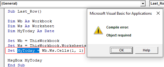 VBA Object Required Example 1-3