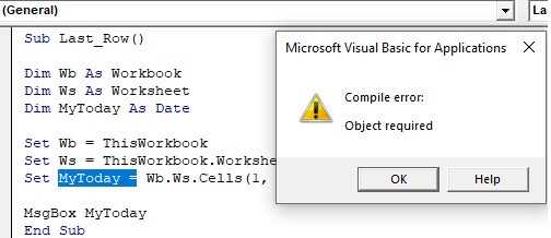 VBA Object Required Example 1