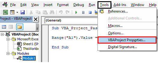 VBA Project Password Example 1-1
