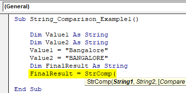VBA String Comparison Example 1.3