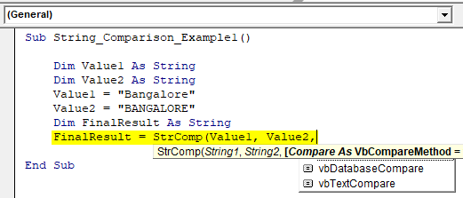 VBA String Comparison Example 1.4