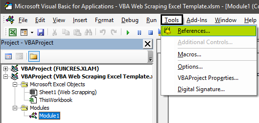 VBA Web Scraping Example 1.1.0
