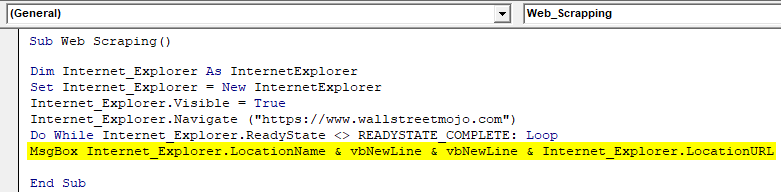 VBA Web Scraping Example 1.15.0