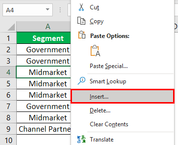 Add Rows in Excel Shortcut Example 1.3