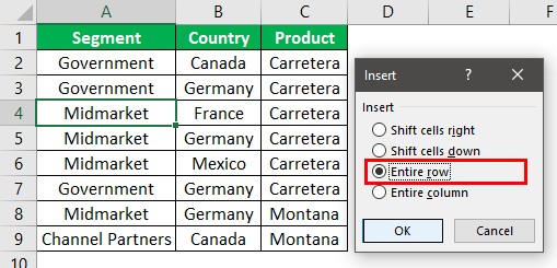 Add Rows in Excel Shortcut Example 1.7