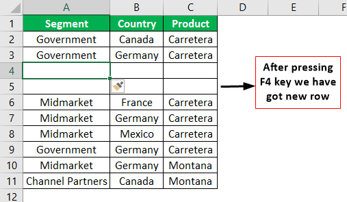Add Rows in Excel Shortcut Example 1.9