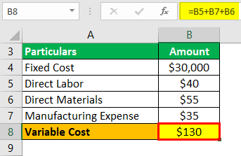 Variable Cost Example 3-2