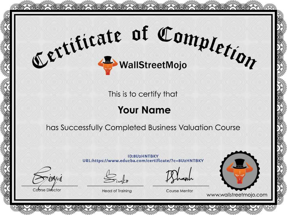 Valuation Certificate of Completion