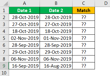 Compare Date in Excel - Example 1.1