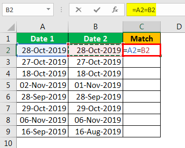 Compare Date in Excel - Example 1.2