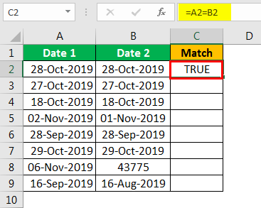 Compare Date in Excel - Example 1.3