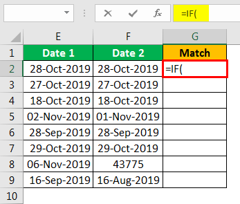 Compare Date in Excel - Example 2.1