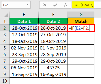 Compare Date in Excel - Example 2.2