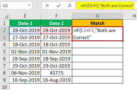 Compare Date in Excel - Example 2.3