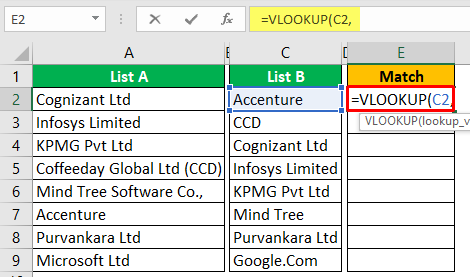 Compare Two Columns in Excel Example 1-2