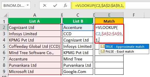 Compare Two Columns in Excel Example 1-4