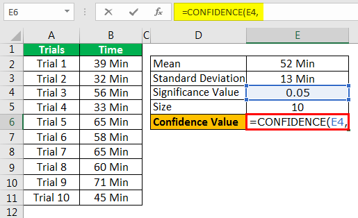 Confidence Interval In Excel Example 1.6